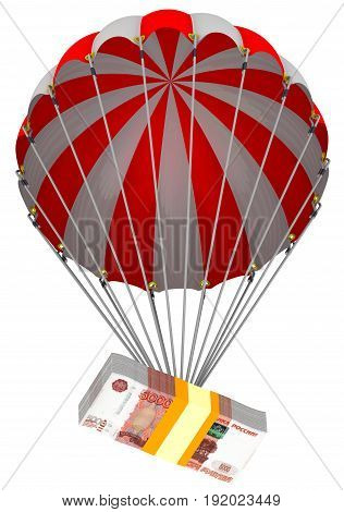 The depreciation of the Russian ruble. A pack of Russian rubles descends on a parachute. Isolated. 3D Illustration