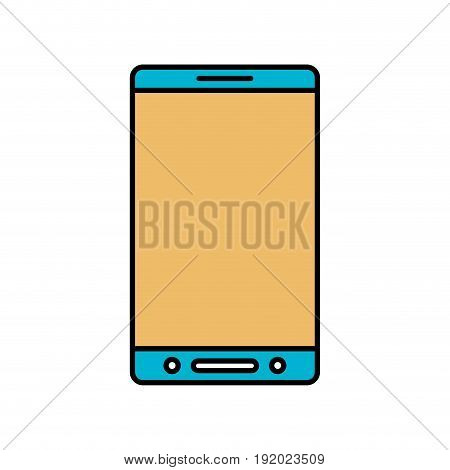 color sections silhouette of smartphone icon vector illustration