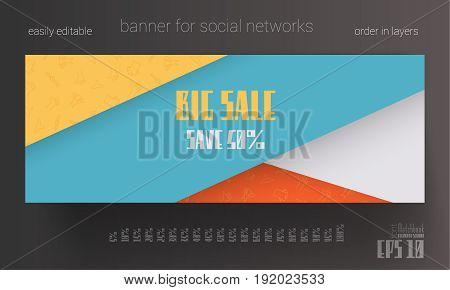 Banner for social network. Modern creative design for Sale and Discount Offers poster, placard, brochure, banner, presentation with place for text. Vector illustration. Flat design.
