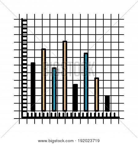 color sections silhouette of statistic graphic bars vector illustration