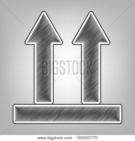 Logistic sign of arrows. Vector. Pencil sketch imitation. Dark gray scribble icon with dark gray outer contour at gray background.