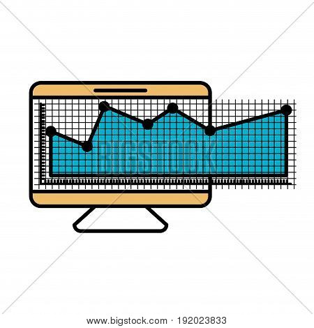 color sections silhouette of screen monitor and financial risk graphic vector illustration