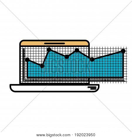 color sections silhouette of laptop computer and financial risk graphic vector illustration