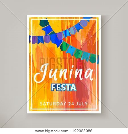 Festa Junina holiday, night beach party. Folklore fest. Hipster party. Artistic creative card. Hand Drawn texture. Template for creative flyer, banner, invitation, promotion. Vector illustration