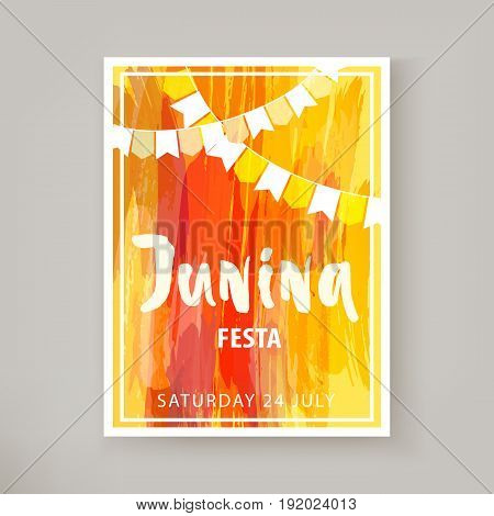 Festa Junina holiday, night beach party. Folklore fest. Hipsters party template flyer or banner. Watercolor background. Template for creative flyer, banner, invitation, promotion. Vector illustration