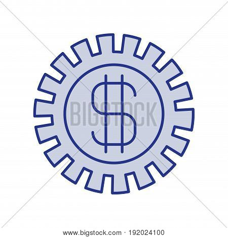 blue silhouette of pinion with money symbol vector illustration