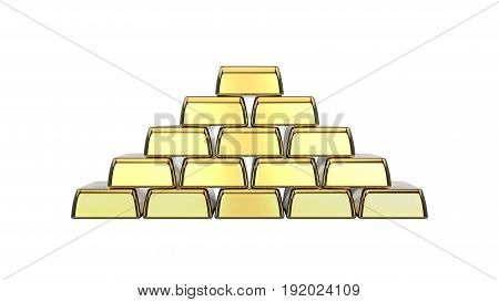 3D illustration closeup isolated shiny pyramid of gold bars on a white background