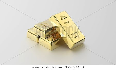 3D illustration closeup pyramid of four shiny gold bars on a grey background