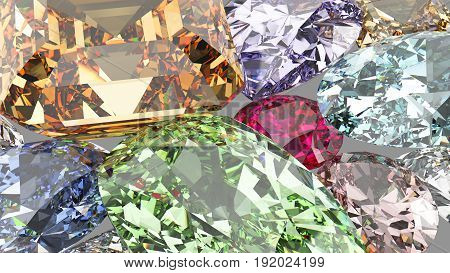 3D illustration isolated group of many gemstones on a white background zoom macro