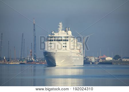 Velsen The Netherlands - June 18th 2017: Silver Whisper- Silversea Cruises on North Sea Channel towards Amsterdam Cruise terminal