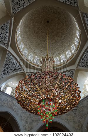 Details of Interior to Sheikh Zayed Mosque in Abu-Dhabi UAE