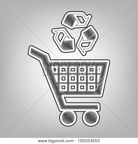 Shopping cart icon with a recycle sign. Vector. Pencil sketch imitation. Dark gray scribble icon with dark gray outer contour at gray background.