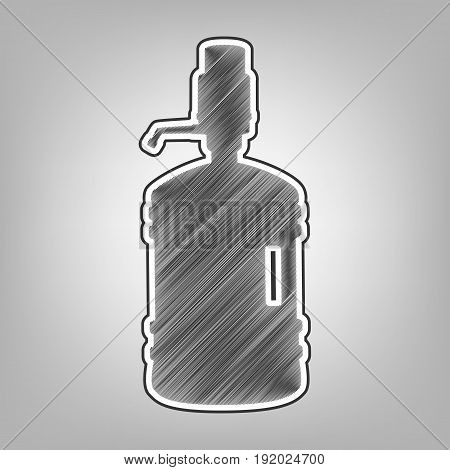 Plastic bottle silhouette with water and siphon. Vector. Pencil sketch imitation. Dark gray scribble icon with dark gray outer contour at gray background.