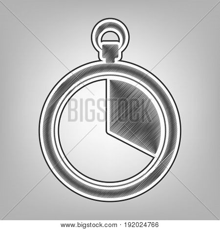 The 20 seconds, minutes stopwatch sign. Vector. Pencil sketch imitation. Dark gray scribble icon with dark gray outer contour at gray background.