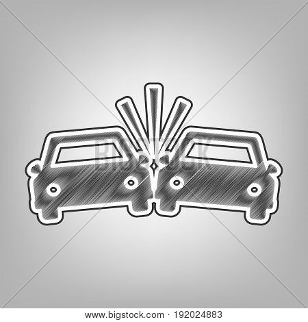 Crashed Cars sign. Vector. Pencil sketch imitation. Dark gray scribble icon with dark gray outer contour at gray background.