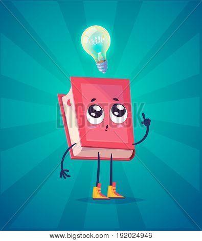 Book idea. Funny character with bulb near his head. Vector illustration. Vector cartoon illustration. Cute stylish characters.