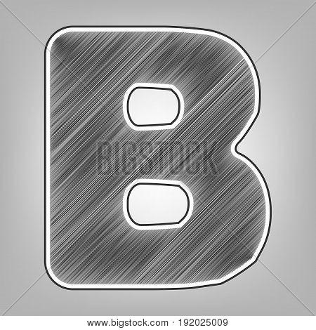 Letter B sign design template element. Vector. Pencil sketch imitation. Dark gray scribble icon with dark gray outer contour at gray background.