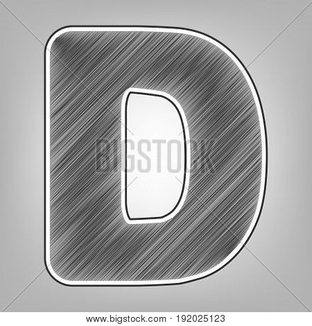 Letter D sign design template element. Vector. Pencil sketch imitation. Dark gray scribble icon with dark gray outer contour at gray background.