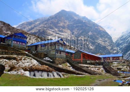 Lodge for traveler on the mountain, in Machpuchare Base Camp. Nepal, Annapurna Base Camp track.