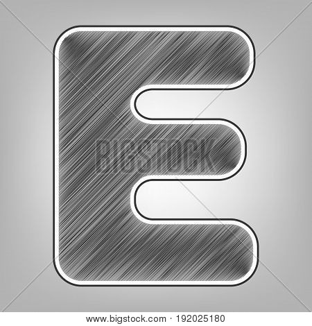 Letter E sign design template element. Vector. Pencil sketch imitation. Dark gray scribble icon with dark gray outer contour at gray background.