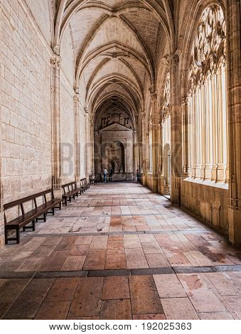 SEGOVIA SPAIN JUNE - 3 2017: Interior of Cathedral of Our Lady of Assumption Cloister Located on the south side of the cathedral is the work of Juan Guas take in Segovia Spain