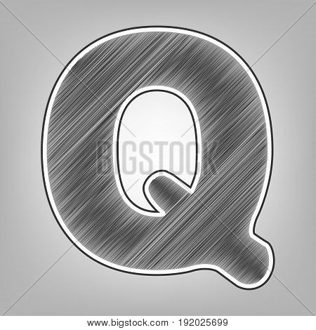 Letter Q sign design template element. Vector. Pencil sketch imitation. Dark gray scribble icon with dark gray outer contour at gray background.