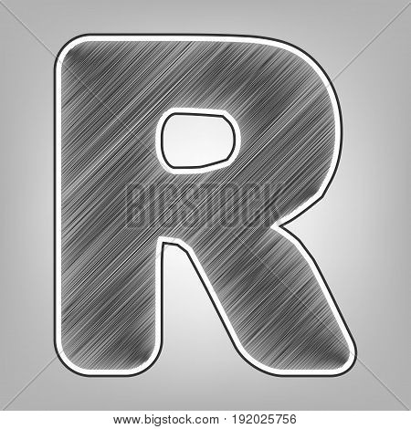Letter R sign design template element. Vector. Pencil sketch imitation. Dark gray scribble icon with dark gray outer contour at gray background.