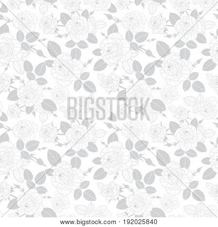 Vector vintage grey roses and leaves on white background seamless repeat pattern texture. Great for retro fabric, wallpaper, scrapbooking projects. Surface pattern design.