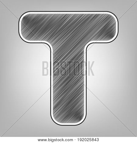 Letter T sign design template element. Vector. Pencil sketch imitation. Dark gray scribble icon with dark gray outer contour at gray background.