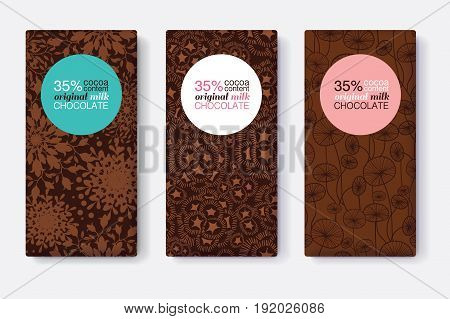 Vector Set Of Chocolate Bar Package Designs With Modern Brown Floral Patterns. Pastel Circle Frame. Editable Packaging Template Collection. Packaging and Surface pattern design.