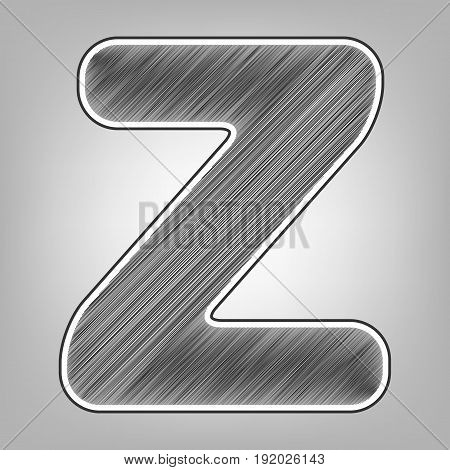 Letter Z sign design template element. Vector. Pencil sketch imitation. Dark gray scribble icon with dark gray outer contour at gray background.