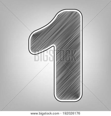 Number 1 sign design template element. Vector. Pencil sketch imitation. Dark gray scribble icon with dark gray outer contour at gray background.