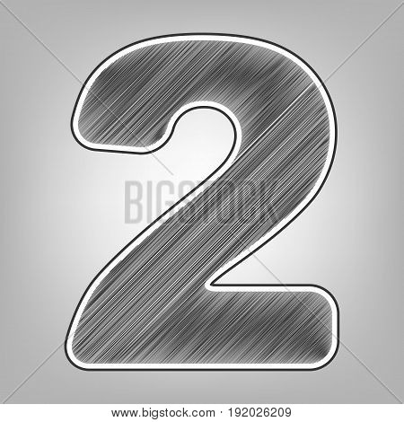 Number 2 sign design template elements. Vector. Pencil sketch imitation. Dark gray scribble icon with dark gray outer contour at gray background.