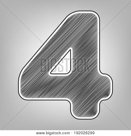 Number 4 sign design template element. Vector. Pencil sketch imitation. Dark gray scribble icon with dark gray outer contour at gray background.