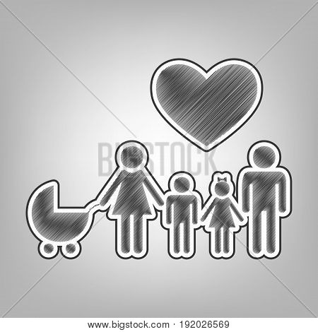 Family sign with heart. Husband and wife are kept children's hands. Vector. Pencil sketch imitation. Dark gray scribble icon with dark gray outer contour at gray background.