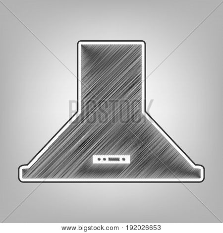 Exhaust hood. Kitchen ventilation sign. Vector. Pencil sketch imitation. Dark gray scribble icon with dark gray outer contour at gray background.