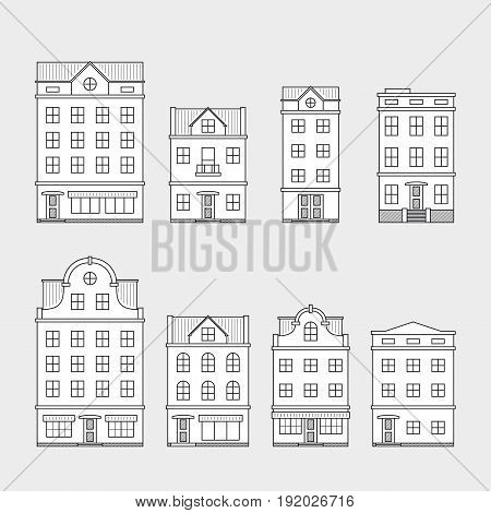 set of house icons isolated on gray background, thin line style illustration