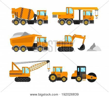 Construction machine set. Vector construction transport machinery vehicles icons.