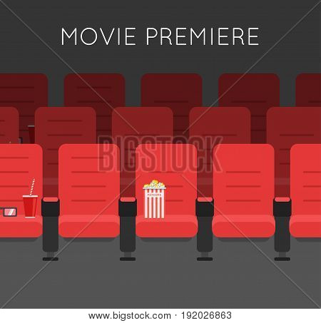 Cinema hall Red Cinema chairs vector illustration. Movie theater armchair