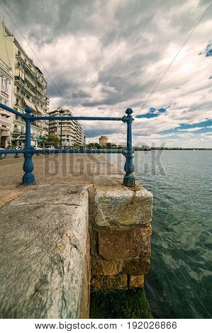 Thessaloniki Paralia Port and White Tower Under the Blue sky Wide Vertical Shot