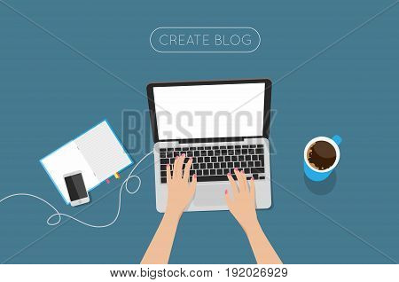 Top view laptop vector illustration. Overhead View Of Businesswoman Working At Computer In Office.