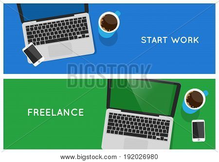Top view laptop computer vector banners concept. Freelance web banner.