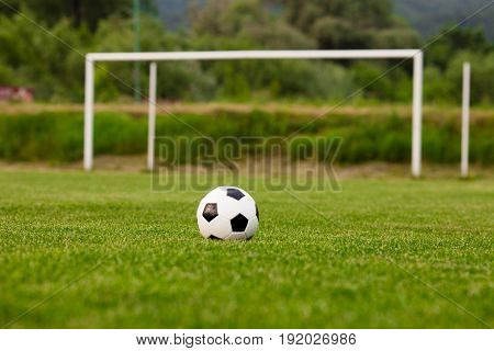 Soccer ball on a green grass close-up. Concept - football passion