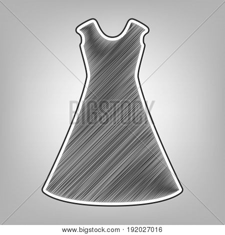 beautiful long dress sign. Vector. Pencil sketch imitation. Dark gray scribble icon with dark gray outer contour at gray background.