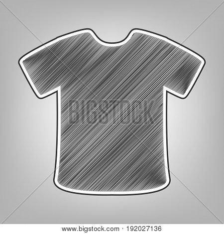 T-shirt sign. Vector. Pencil sketch imitation. Dark gray scribble icon with dark gray outer contour at gray background.
