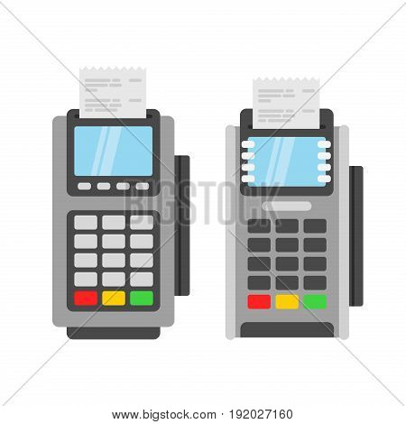 Pos terminal vector illustration. Credit Card Machine