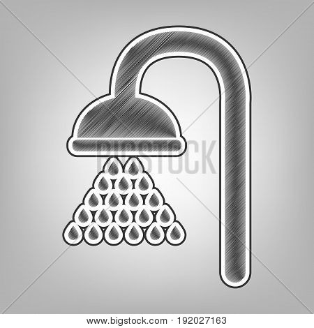 Shower sign. Vector. Pencil sketch imitation. Dark gray scribble icon with dark gray outer contour at gray background.