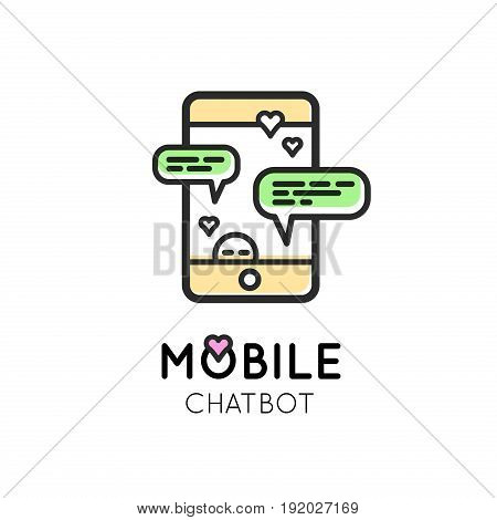 Chatbot modern Simple Icon for web or print. Mobile chat communication. Talk with smartphone.