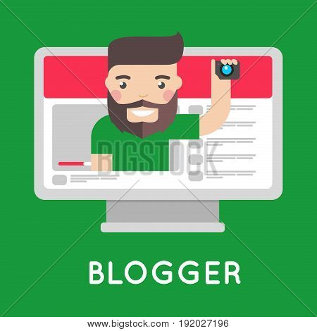 Video blogger on streaming website. Vlogger with beard broadcasting on personal channel in web. Computer with celebrity face on green background