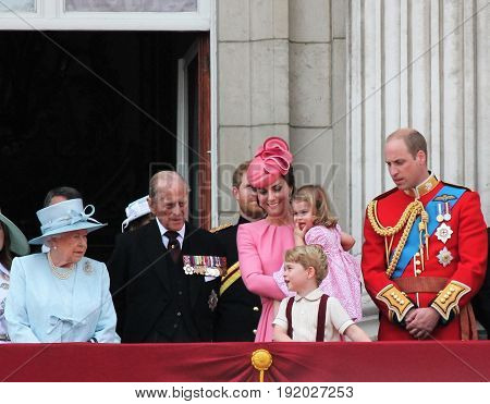 Queen Elizabeth & Royal Family Buckingham Palace London June 2017- Trooping the Colour Prince George William harry Kate & Charlotte Balcony for Queen Elizabeth's Birthday June 17 2017 London UK